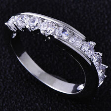 ---10K White Gold Filled GF CZ Eternity Ring Size 7.75 US, P Aus