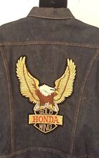 Vintage Men Levi Gold Wing 1970s Motorcycle Denim Jean Jacket Club Hog
