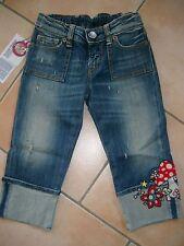 (837) Nolita Pocket Girls Capri Jeans Hose used look mit Pilz Stickerei gr.116
