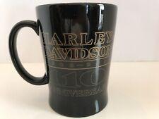RARE HARLEY DAVIDSON 110th ANNIVERSARY MUG Sculpted Black  Coffee Mug, 15 oz.