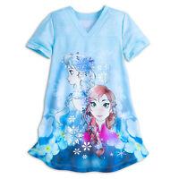 Disney Store Frozen Elsa Anna Deluxe NightGown Pajamas Girls Size 3 4 5/6 9/10