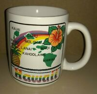 Rare Vtg HAWAII Coffee Mug CUP Hawaiian Islands RETRO Kitch RAINBOW Colorful