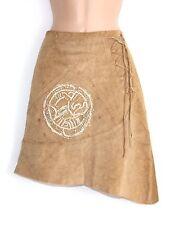 VTG Beige 100% Real Leather CONBIPEL Asymmetrical Midi Ladies Skirt size W 29