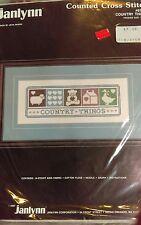 Janlynn Counted Cross Stitch Kit Country Things Bear Duck Sheep nip