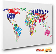 World Map Rainbow Typography Pop Art  Canvas Print Wall Art  A1 A2 A3 A4