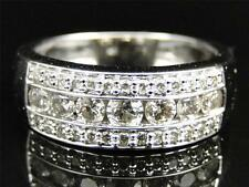 Mens 14K Whtie Gold 3 Row Diamond Channel Wedding Engagement Band Ring 1.20 Ct