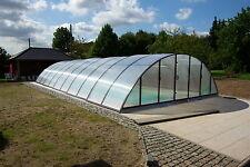 Poolüberdachung Albixon Pooldach Poolschiebehalle Klasik B anthrazit
