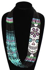 NE602 Crystal Glass Bead Day of the Dead Long Necklace Skull Jewelry Guatemala