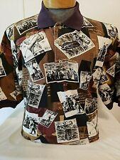 Gant Mens Brown Multi Short Sleeve Collared Cotton Golf Shirt Large L