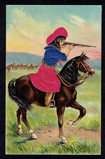 Cowgirl On Horse Shoots Gun ~ Embossed Silk Add On Postcard ~ Silk Clothing