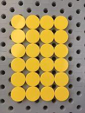 Lego Yellow Round 2x2 Flat Tiles Smooth Finishing Floor Stones New 24Pcs