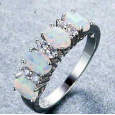 Engagement Wedding Fashion Ring Size: 8 Elegant 925 Sterling Silver Rainbow Opal