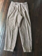 Vintage Woolrich Thick Woool Lined Pants Tan Green Red Plaid Size 12 Inseam 29�