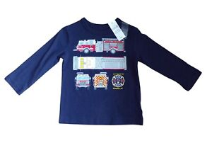 Boys Gap T-Shirt Long Sleeves 18-24 Months Fire Engine Theme NWT