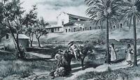 "CALIFORNIA Mission of San Diego de Alcala - 1890 Antique Print  11"" x 15"""