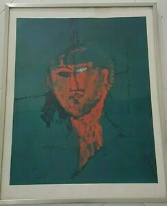 """AMEDEO MODIGLIANI """"LA TÊTE ROUGE """" Lithographie Braun and cie 1969"""
