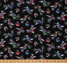 Motorcycles Dirt Bikes Bikers Helmets on Black Cotton Fabric Print Bty D659.14