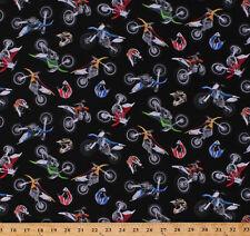 Motorcycles Dirt Bikes Bikers Helmets on Black Cotton Fabric Print BTY D659.14