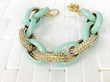 New Preppy Mint Enamel Pave Crystal Chain Link Bracelet Bangle Dress Party 8.5""