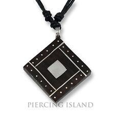 Amulett Anhänger Design Kette Halskette Holz Edelstahl N272