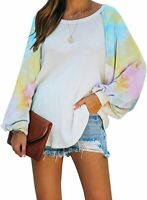Womens Multicolor Long Sleeve Waffle Knit Pullover Sweatshirts Tops Size S