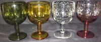 Vintage Colored Glass Goblets-Thumbprint Design