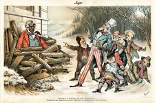 JOHN BULL AS A NEGRO IN THE WOODPILE CLEVELAND FREE TRADE BILL UNCLE SAM NEGRO