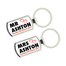 Set of 2 Personalised Mr & Mrs Wedding Rectangle Metal Keyrings With Gift Box