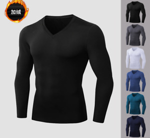 Men's Long Sleeve Compression Shirts V Neck Winter Sports Running Base Layer Top