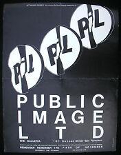PUBLIC IMAGE LIMITED The Galleria SAN FRANCISCO 1982 Concert POSTER Sex Pistols