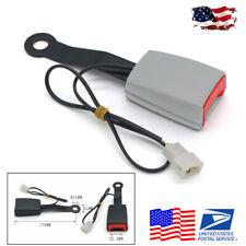 US Ship Grey Car Seat Belt Buckle Padding Socket Plug Connector w/ Warning Cable