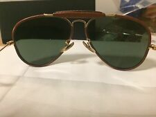 RAY BAN  B&L OUTDOORSMAN VINTAGE BROWN ALL LEATHER WRAPPED SUNGLASSES 58MM