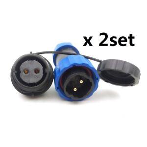 2x2pin Waterproof Connector, SD20 Circular IP68 LED Solar Panel Power Cable Plug