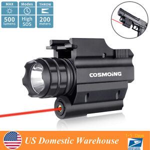 500 Lumen Hunting Red Laser Tactical Gun Rail Pistol Light LED Flashlight Combo