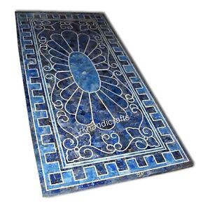 30 x 60 Inches Lapis Lazuli Stone Dining Table Royal Look Reception Table Top
