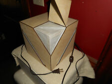 BALSA WOOD CUBE & RICE PAPER Geometric Cutout Tabel Lamp Handmade RISD Prototype