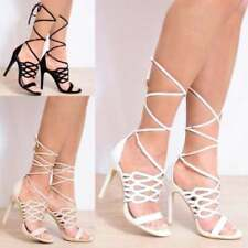 Unbranded High (3 in. to 4.5 in.) Open Toe Synthetic Heels for Women