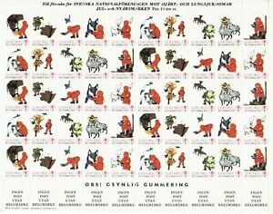 S26886) Sweden 1973/74 MNH Tuberkulose Christmas Sheet God Helg Cinderella