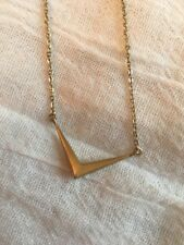 Melinda Maria Amari Mini Necklace Gold V Pendant Chain Beveled Bars Tone Plated