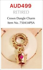 Genuine Pandora 14ct Gold Crown Dangle Charm With Pink Sapphire, 750434PSA