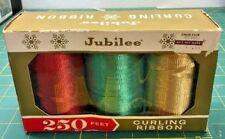Jubilee 3 Spools of Vintage Christmas Curling Ribbon In Original Box