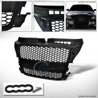 Fits 08-11 Audi A3 8P Matte Blk Rs Honeycomb Mesh Front Hood Bumper Grill Grille
