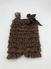 Baby Lace Ruffle Romper 6/9 Months Brown