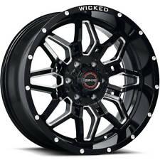 4 20x9 Black Milled Wheel Wicked Offroad W909 6x1397 12