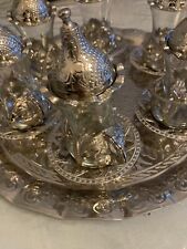 Turkish Tea Set (of 6) Copper Movable Holder Bowl Glass Cup Ottoman Shiny Silver