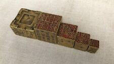 8cm Chinese Antique brass square Set Five seals Statue Brass seal