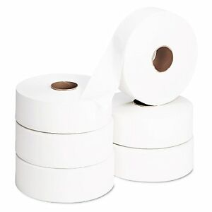 6 Jumbo Toilet Roll 300m Long 90mm Wide Eco 100% Recycled 2 Ply Soft & Absorbent