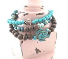 Boho beaded summer bracelets set of 3 turtle stackable bracelets