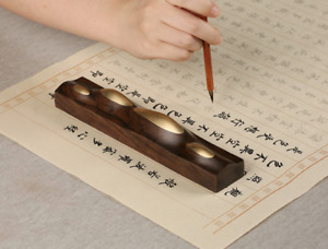 Chinese Black Rosewood Inlay Brass Letterweight Paper Weight Pen Rack Penholder