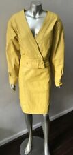 Retro 2 Piece Leather Vintage 90s V Neck Yellow Dolman Jacket Skirt Suit L